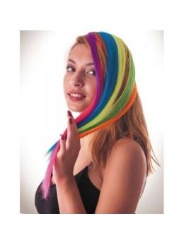 Paire de Mèches extension cheveux sur clip fluo jaune