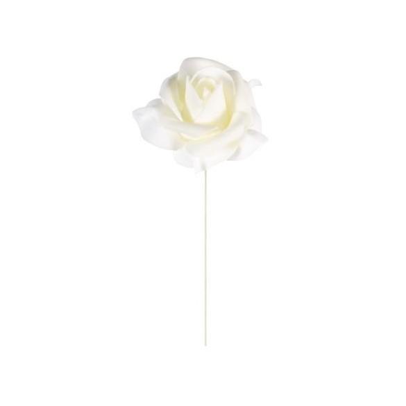 Set 6 roses ivoire sur tige 5cm