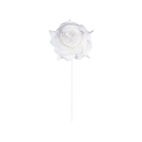 Set 6 roses blanches sur tige 5cm