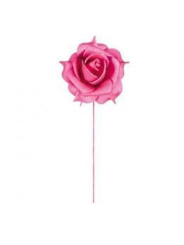 Set 6 roses fuchsia sur tige 5cm