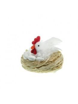Poule blanche dans nid 9cm