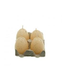 Set 4 bougies oeuf naturel 7cm
