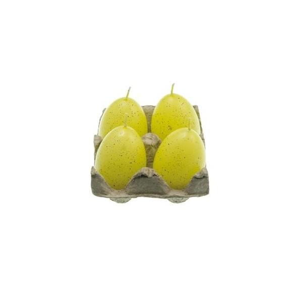 Set 4 bougies oeuf jaune 7cm