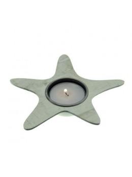 Bougeoir chauffe plat étoile de mer bois bleu ciel