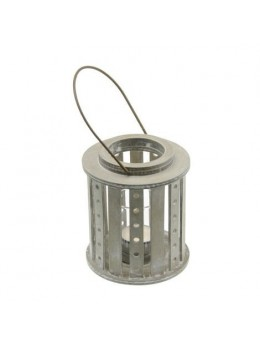 Lanterne bois blanchi avec bougeoir verre
