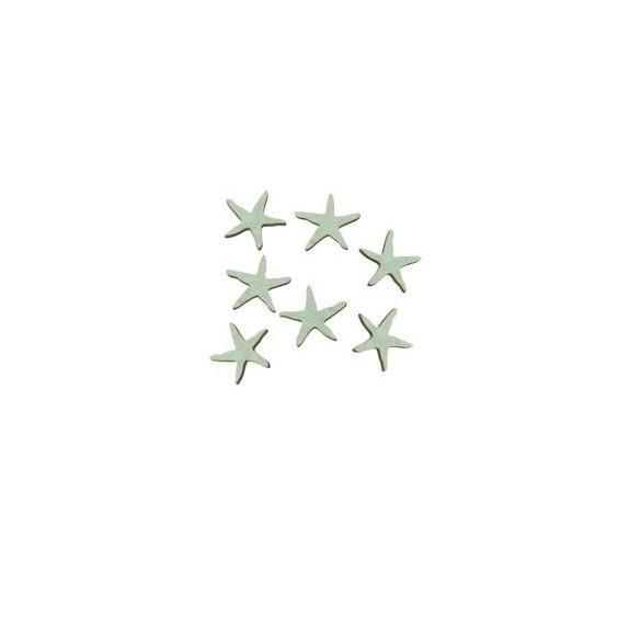 Sachet 18 étoiles de mer bois bleu ciel 3cm