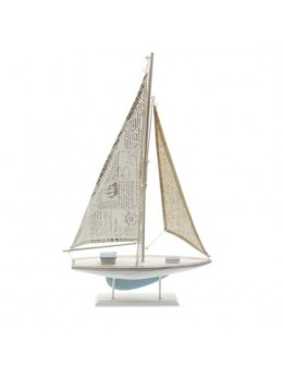 Voilier bois blanc bleu ciel 56.5cm