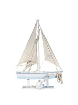 Voilier bois blanc bleu ciel 100cm