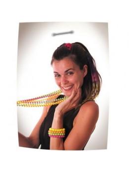 4 bracelets de perles fluo