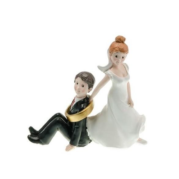 "Figurine couple mariés résine ""Suis-moi !"""