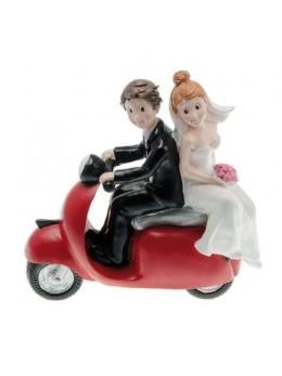 Figurine couple mariés résine scooter rouge