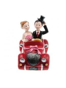 Figurine couple mariés résine voiture rouge
