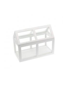 Centre de table mini serre bois blanc