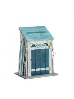 Urne bois cabine de plage 28cm