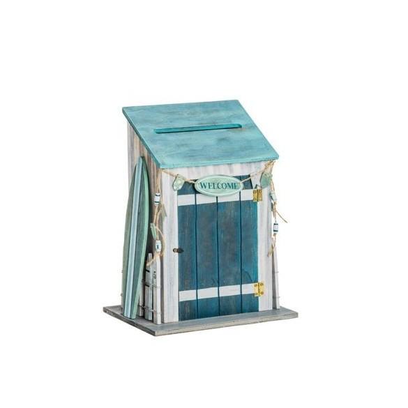 Urne bois cabine de plage 28cm f tes en folie for Cabine de plage en bois pour jardin