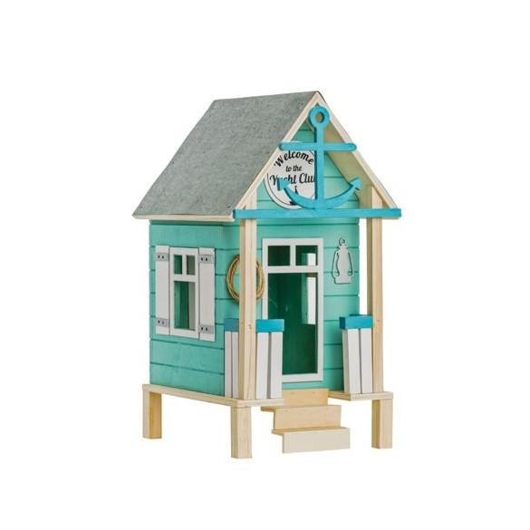 Urne bois maison de plage 19cm