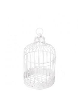 Cage métal blanc vintage 20cm