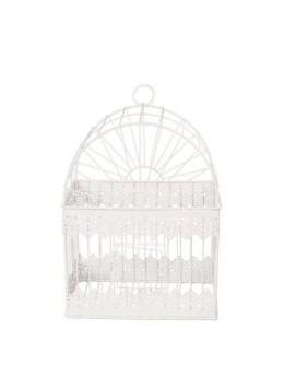 Cage métal blanc vintage 30cm