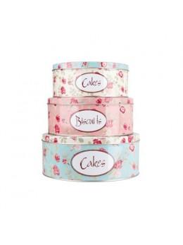 Set 3 boîtes à gâteaux métal roses