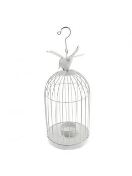Cage métal oiseau blanc 32cm