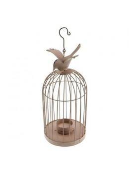 Cage métal oiseau saumon 32cm