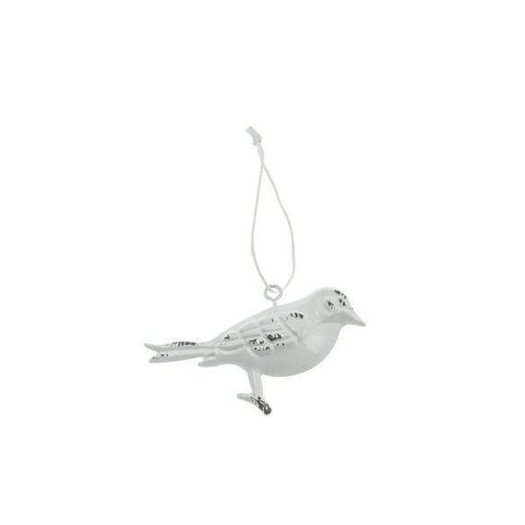 Oiseau métal à suspendre blanc 7cm