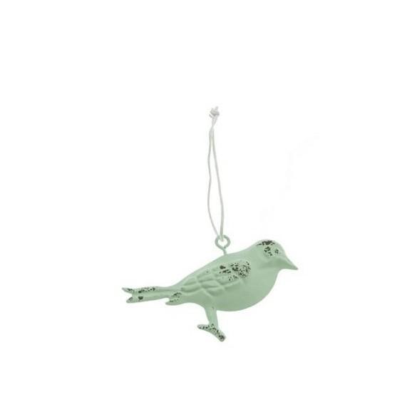 Oiseau métal à suspendre vert 7cm