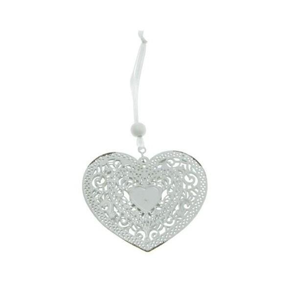 Coeur dentelle métal à suspendre blanc 7cm