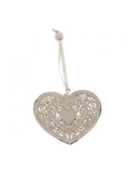 Coeur dentelle métal à suspendre saumon 7cm