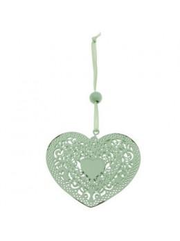 Coeur dentelle métal à suspendre vert 7cm