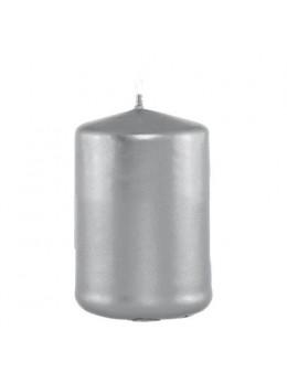 Bougie cylindrique argent métal 6cmx10cm