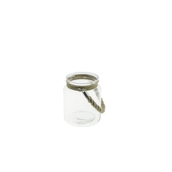 Lanterne verre avec corde 14.5cm