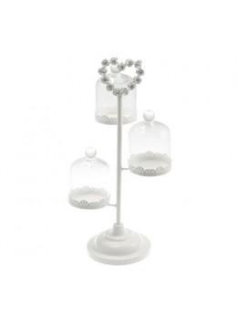 Support à cupcake avec 3 cloches verre 13.5cm
