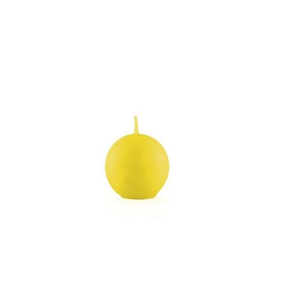 Bougie boule jaune 6cm
