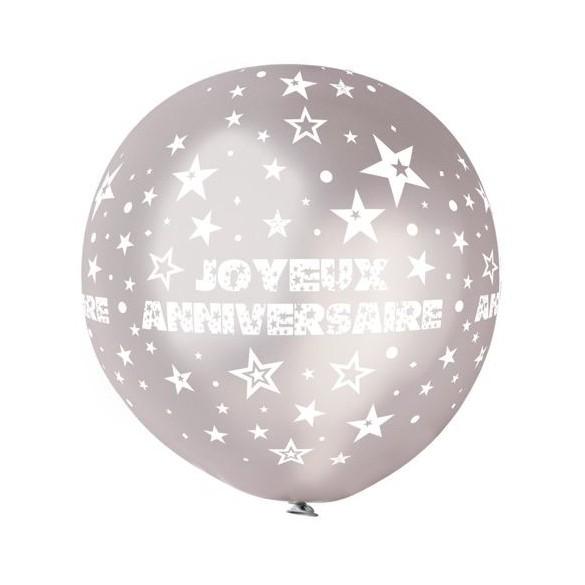 Ballon géant anniversaire argent