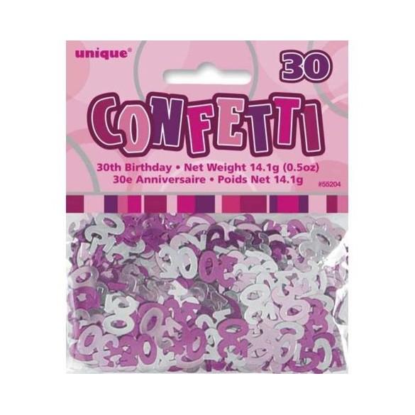 Confetti Anniversaire dégradé de rose 30 ans