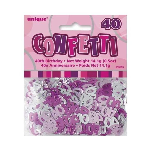 Confetti Anniversaire dégradé de rose 40 ans