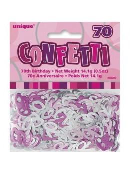 Confetti Anniversaire Rose 70 ans