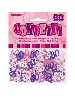 Confetti Anniversaire Rose 80 ans