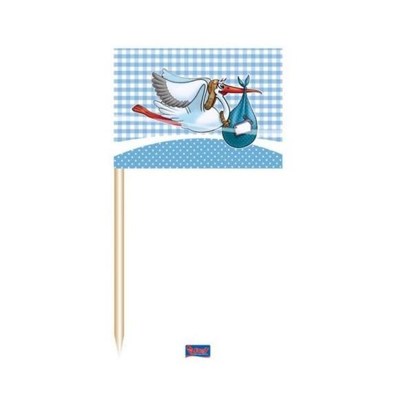 """50 mini drapeaux """"c'est un garçon"""""""