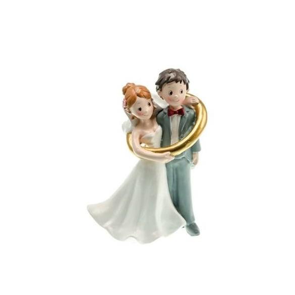 Figurine couple mariés résine dans anneau