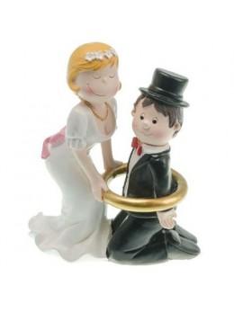 Figurine couple mariés résine encerclé