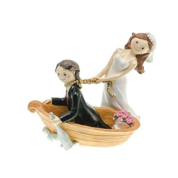 Figurine couple mariés résine barque