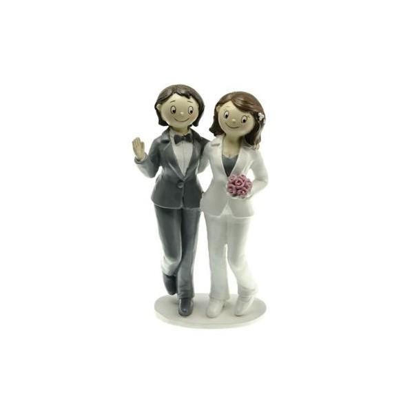 Figurine couple mariés résine filles