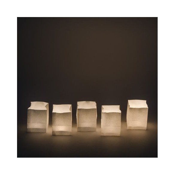 5 sacs lumineux blanc 9cm