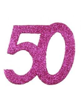 6 Chiffres paillettes fuchsia 50 ans