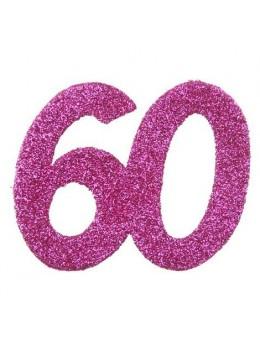 6 Chiffres paillettes fuchsia 60 ans
