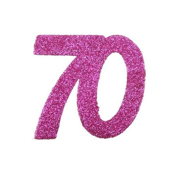 6 Chiffres paillettes fuchsia 70 ans