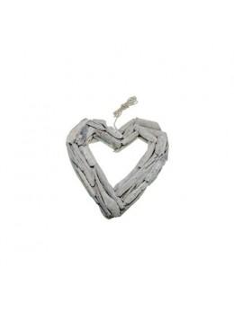 Coeur bois blanchi à suspendre 25cm