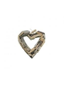 Coeur bois naturel à suspendre 25cm
